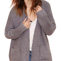 Grey Long Sleeve Open Front Knitted Cardigan with Pockets