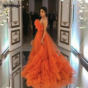 Sevintage Orange Ruffles Tulle Evening Party Dresses Strapless Plus Size Prom Dresses 2021 A Line Special Occasion Gowns