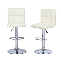 Furnistars Cream Leatherette Faux Tufted Adjustable Bar Stools (Set of two)