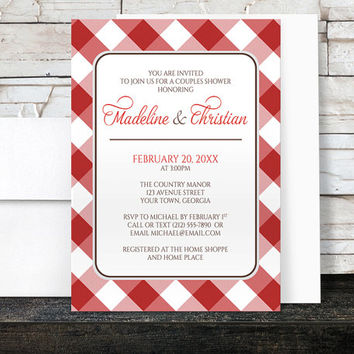 Gingham Couples Shower Invitations - Red and White Country Pattern - Printed Invitations