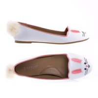 Kiwi74S Bunny By Bamboo Adorable Round Toe Ballet Flats Loafer w Cute Animal Face, Faux Fur Tail