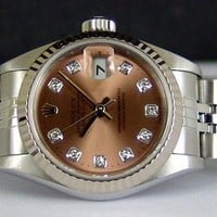 ROLEX - Ladies 18kt WG & SS DateJust Rose Diamond Dial - 79174 SANT BLANC