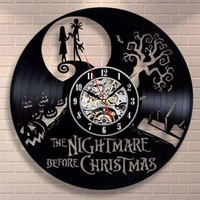 Nightmare Before Christmas Jack & Sally Vinyl Record Clock