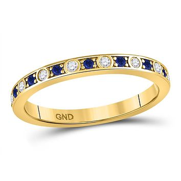 10k Yellow Gold Round Blue Sapphire Diamond Alternating Stackable Band Ring 1/4 Cttw