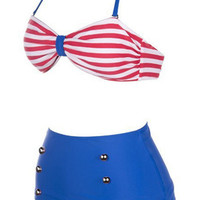 pinup style high waisted bathing suit