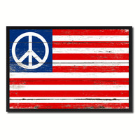 Peace Sign American Military Flag Vintage Canvas Print with Picture Frame Home Decor Man Cave Wall Art Collectible Decoration Artwork Gifts