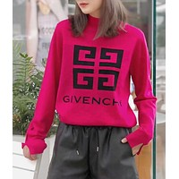 GIVENCHY Trending Women Stylish Jacquard Long Sleeve Knit Sweater Pullover Top Sweatshirt Rose Red