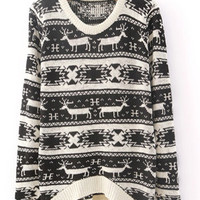 X'mas Deer Asymmetric Sweater Black  S006878