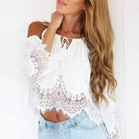 New Fashion Sexy Women Lady Summer White Lace Sleeveless Casual Crop Blouse Tops Shirt