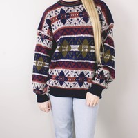 Vintage Marled Colorful Aztec Knit Sweater