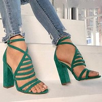 2018 Green Ankle Wrap Open Toe Straps High Chunky Heel Sandals