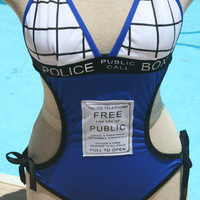 Tardis Swimsuit inspired by Dr Who by Fit2btiedclothing on Etsy