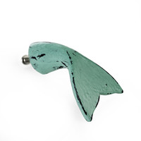 Vintage Seascape Whale Tail Antique Sea Foam Green Drawer Cabinet Cupboard Pull Knob