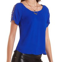 Caged Cold Shoulder Chiffon Tee by Charlotte Russe