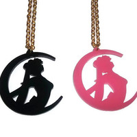 Sailor Moon Necklace, Laser Cut Kawaii Usagi, Cute Anime Pendant