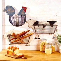 Wire Wall Basket Barnyard Cow Pig Rooster Rustic Country Farmhouse Decor