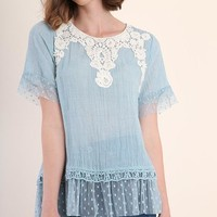 Light Blue Crochet Lace Top