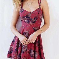 Red Criss Cross Back Floral Print Skater Dress