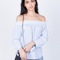 Pin Striped Off-the-Shoulder Blouse