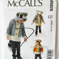 McCalls M6828 Sewing Pattern Animal Applique Hooded Coat Toddler Unisex Girls Boys 2 3 4 5 New Uncut