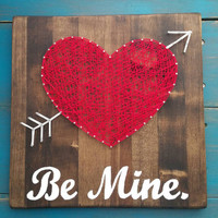 """Valentine's Day String Art Sign, Red Heart with Arrow, """"Be Mine"""" Wall Hanging, Romantic Nail Art Home Decor, Unique Valentine's Gift"""