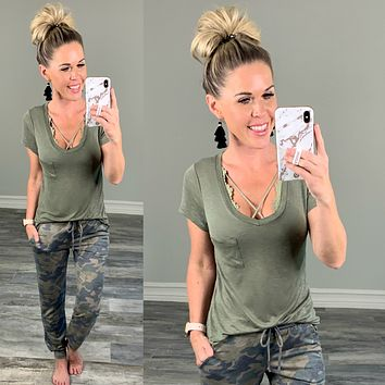 Not Your Boyfriends Pocket Tee - Olive
