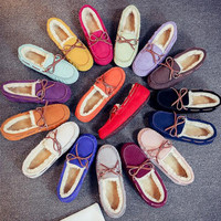 shoes woman genuine cow leather Fur moccasins Boat Loafer Flats Warm oxford shoes for Women Creepers with bow zapatos mujer