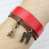 The Eiffel Tower and the arc DE triomphe in Paris bracelets, the dream of charm bracelet, the best choice of gifts