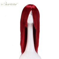 """SNOILITE 24"""" 60cm Long Cosplay Wig Wine Red Party Dress Halloween Synthetic Heat Resistant Full Hair Wigs"""