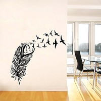Wall Decal Vinyl Sticker Decals Art Home Decor Murals Feather Birds Nib Style Feather Peacock Living Room Modern Fashion Bedroom Dorm Decals AN142