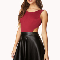 FOREVER 21 Pretty-Tough Combo Dress Wine Large