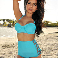 Retro Vintage High Waist Push Up Women Two Piece Summer Swimsuit Bathing Suit Bandage Bikini Set _ 235