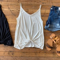 Ellie Basic Twist Front Tank in Black and White