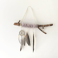 DreamCatcher Boho Wall Hanging Home Decor Feather Wind Chime With Tribal Home Decor Fur Wooden Natural Talisman