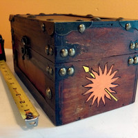 Game of Thrones - House Martell large wood Chest  / box / jewelry- Wood burned hand painted sun spear sigil A Song of Ice and Fire