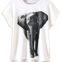 White Elephant Pattern Short Sleeve T-Shirt