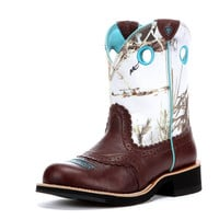 Ariat Women's Fatbaby Cowgirl Boot - Brown Crinkle/Snowflake