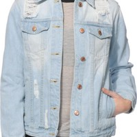 Thread & Supply Alyssa Light Wash Destroyed Denim Jacket