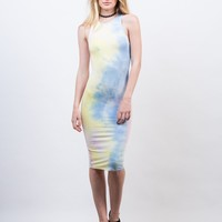 Tie-Dye High Neck Midi Dress