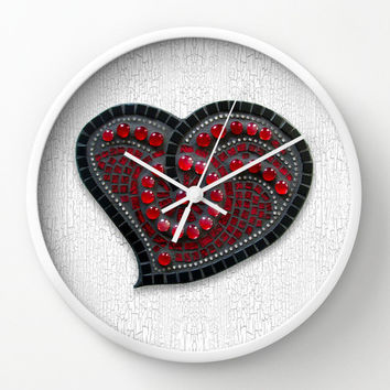 Red Mosaic Heart Wall Clock