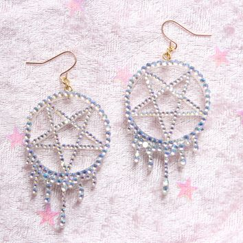 Melting Sprakly Pentagram Dangle Earrings