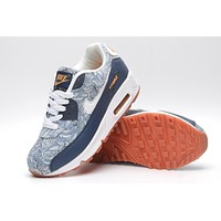 NIKE AIR MAX 90 fashion ladies men running sports shoes sneakers F-PS-XSDZBSH  Printed grey + dark blue white