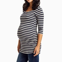 Navy-Grey-Striped-3/4-Sleeve-Shirt