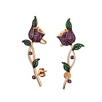 Flower Red Rose Helix Ear Pin Cartilage Lobe Earrings Rose Gold Plated