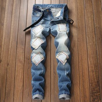 Men Ripped Holes Jeans [3444984741981]