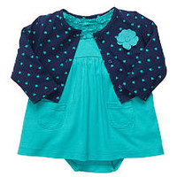 Carter's Girls 2 Piece Polka Dot Cardigan with Applique and Dress Set