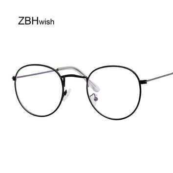 Round Glasses Men Women's Sun Glasses Metal Frame Eyewear Vintage Female Optics Eyeglasses Clear Lens Transparent Top