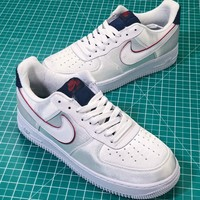 Nike Air Force 1 07 AF1 Se White Blackened Blue Aa0287-103 Sport Shoes - Best Online Sale