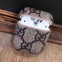 GUCCI Fashionable iPhone AirPods Bluetooth Wireless Earphone Protector With Double G Letter Print Protective Case(No Headphones)