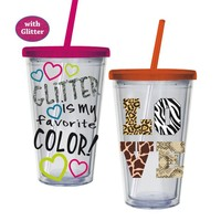 Glitter Love Animal Print 17oz Insulated Cup with Straw